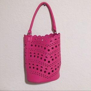 Neiman Marcus pink laser cut vegan leather bag!